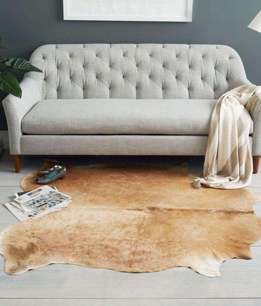 שטיח עור פרה טבעי גווני חום